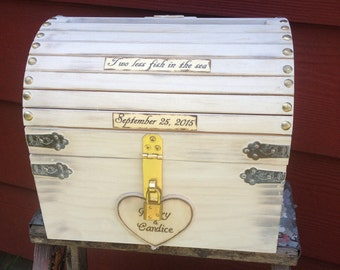 Large Wooden Distressed Chest Nautical Wedding Card Money Box