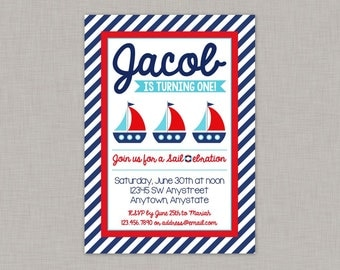 Nautical Birthday Invitation, Nautical Birthday Party, Nautical Invitation