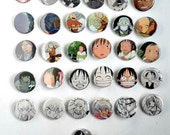 Buy 5 Get 1 FREE--Comic Pin Back Buttons Featuring Spirited Away One PIece Inuyasha Full Metal Alchemist Airbender Naruto Bleach ChoBits
