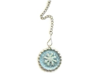 Tea Infuser with Sparkly Snowflake Charm -2 Inch Mesh Ball OOAK