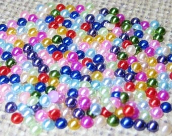 Assorted 3mm faux pearls flat back cabochons for cell phone deco 250 pcs jewelry nail art scrapbooking and kawaii projects