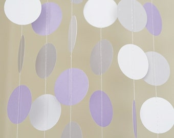 Lavender, White and Light Gray Circle Garland, Photo Prop, Party Decoration, Event Decor