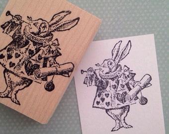The White Rabbit  Alice in Wonderland Rubber Stamp