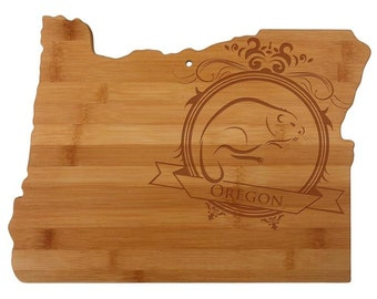 Personalized Oregon Cutting Board - Oregon Shaped Bamboo Cutting Board Custom Engraved - Wedding Gift, Couples Gift, Housewarming Gift