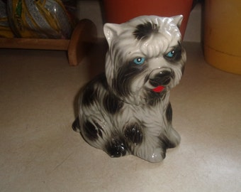 vintage handcrafted dog figurine figure shaggy made brazil porcelain