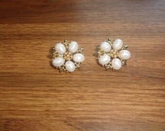 vintage clip on earrings coro white beads goldtone
