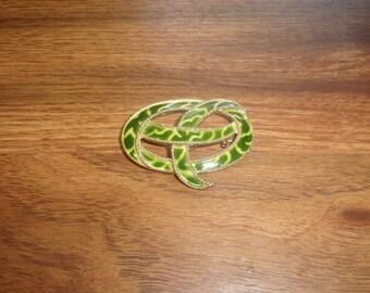 vintage pin brooch green yellow swirl enamel
