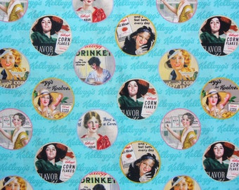 Vintage Kellogs Ads, Kelloggs Ladies, Vintage Ladies, Kelloggs Cereal Ads Fabric, By the Yard