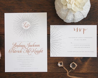 Beam Art Deco Wedding Save the Date Invitation Card Firework Classic Elegant Sparkler