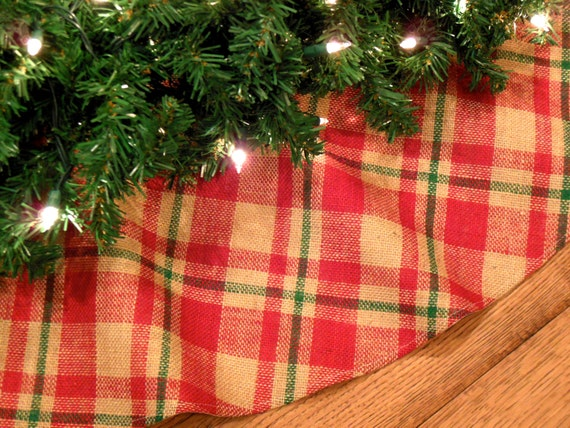 Burlap christmas tree skirt plaid farmhouse