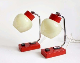 1960s Bedside Table Lamps. Scarlet Red, Chrome, Cream Glass