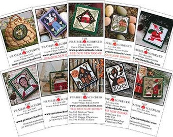 10 Mini-Card Set Collection F : cross stitch patterns Prairie Schooler Halloween Christmas Santa Claus Queen Bee Angel hand embroidery