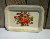 Vintage Shabby and Chic Tole Tray Roses/Flowers Cream Litho Metal 4 5/8 x 6 5/8 in.