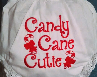 Candy Cane Cutie Bloomers, Christmas bloomers, holiday bloomers, baby girl bloomers, baby girl gift