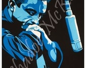 Portrait of Johnny Cash in Recording Studio with Guitar in Blue Pop Art Print of Original Canvas, Poster sized, Free shipping in the USA!