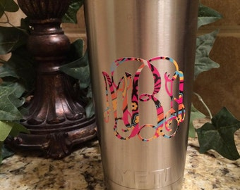 Personalized decal for stainless travel tumbler