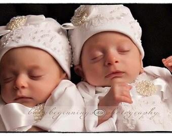 Newborn Girl Baby Hospital Hat Layette Newborn thru 3 months Original Design by Nanajustbananas