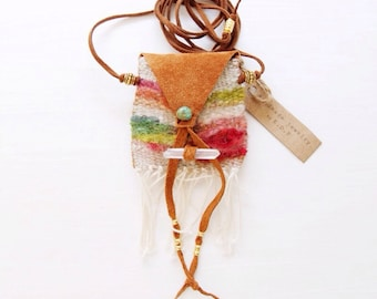 PN-01, One of a kind handmade/woven/sawn pouch necklace-abstract,colorful,boho,hippie