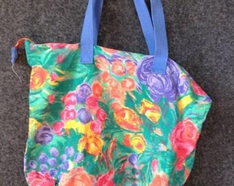 Vintage Floral print canvas tote bag