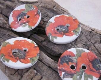 4 Poppy Glazed White Buttons