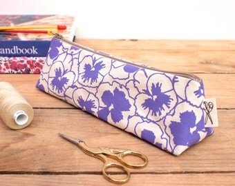 Pencil Case Pansy Print