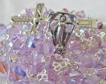 Handmade Catholic Rosary, 8mm Violet AB Swarovski Crystal Bicone Beads, Our Lady of Grace Center, Beaded Edge Crucifix