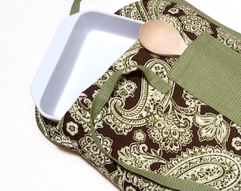 Casserole Carrier Insulated Chocolate Brown and Kiwi Green Paisley--Ready to Ship