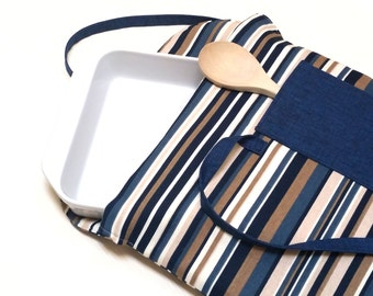 Casserole Carrier Insulated Blue Khaki Stripe with Denim Pocket--Ready to Ship