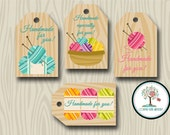 Handmade For You Tags, Hand-Knit, Gift Tags, Favor Tags, Yarn Tags, Knitting Tags