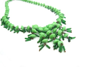 Art Deco Czech Necklace. Czech Glass Beads. Green Fringe. Antique Sautoir Necklace. 1920s Hand Wired Vintage Unique Jewelry.