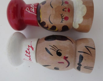 Mid Century Wooden Salt and Pepper Shakers Old Stock
