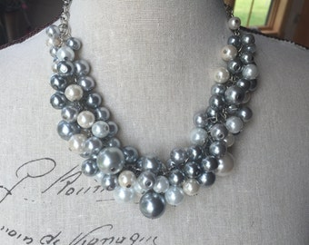 Bridesmaids necklace - chunky gray white cream and pewter necklace.  Wedding jewelry