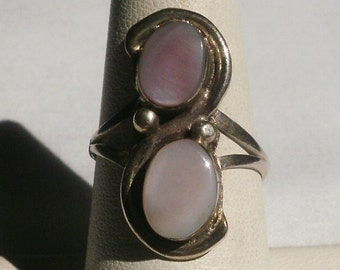 Sterling Silver Mother Of Pearl Ring-Size 7 1/4