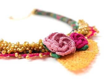 Necklace- Ethnic Handmade Crochet Necklace, Crystal Beaded Statement Jewelry, Crochet Leaf & Rose Necklace, Fiber Fabric Jewelry