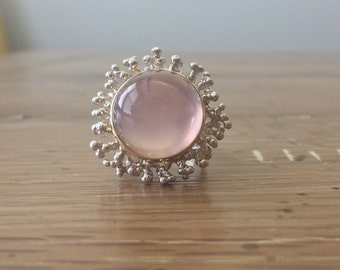 Cabochon Rose Quartz Ring - Unique Silver Ring - Cocktail Ring