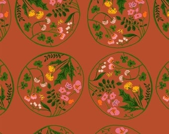 Tiger Lily Flower Wreaths in Orange, Heather Ross, Windham Fabrics, 100% Cotton Fabric, 40928-6