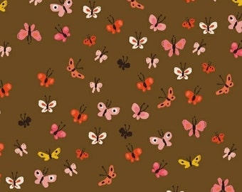 Tiger Lily Butterflies in Brown, Heather Ross, Windham Fabrics, 100% Cotton Fabric, 40933-3