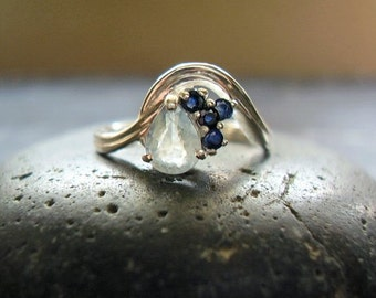 Andrea - Genuine Blue Sapphire Ring - Alternative Engagement Ring - Unusual Wedding Ring - Sterling Silver - Pear Cut Stone - Women's Ring