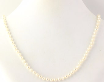 """Pearl Strand Necklace - 14k Yellow Gold Clasp White Freshwater Pearls 19.25"""" y6705"""