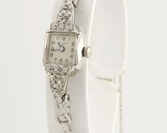 """Vintage Bulova Diamond Watch Women's 6.25"""" - 14k White Gold Mechanical .24ctw L3603"""