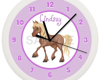 Little Purple Pony Horse WALL CLOCK