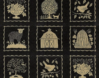 Sturbridge Panel in Black by Kathy Schmitz for Moda