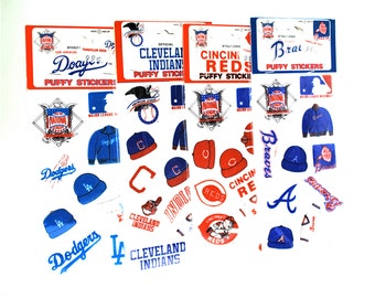 4 Vintage Baseball Puffy Sticker Sets Indians/Braves/Dodgers/Reds