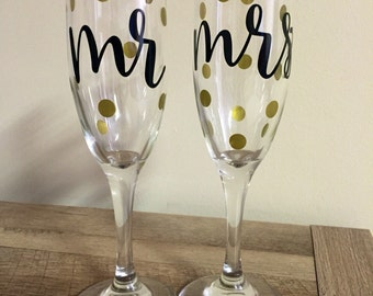 Mr & Mrs Champagne Flutes / Glasses - Black with Gold Dots - Pair