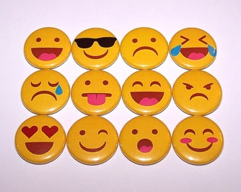 "Emoticons Smiley Faces Set of 12 Party Favor Buttons 1"" or 1.5"" Pin Back Buttons or 1 Inch Magnets"