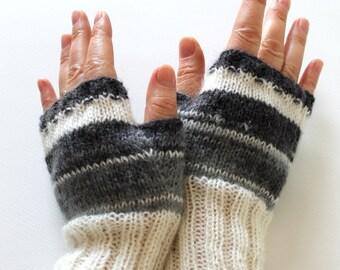 Handknit . Dark Gray Arm Warmer Knitting Fingerless Gloves / Batik colors / Black and Grey  / Arm Mittens / Valentines days . Fashion No:4