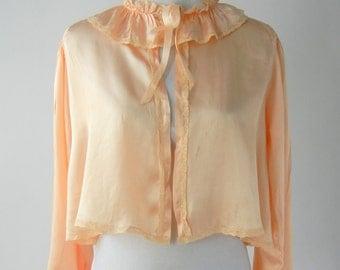 Vintage Bedjacket, 1930s Bedjacket, Vintage Bed Jacket, Pink Silk Bedjacket, 30s Silk Bedjacket, Art Deco Lingerie, Pink Silk Pajamas, 1920s