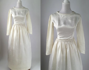Vintage Wedding Dress, 1950s Wedding Gown, Vintage Wedding Gown, Ivory Satin Wedding Dress, 50s Ivory Bridal Gown, 1950s Vintage Bridal Gown