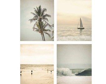 Beach Decor, Beach Photo Set, beach photography, wall art, beach decor, ocean print four beach photos, sailboat, ocean waves, beach house