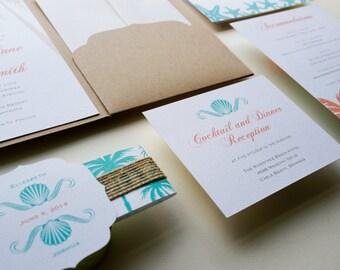 Beach Wedding Invitation, burlap Invitation. Rustic Wedding Invitation, Destination Wedding Invitation - Sample